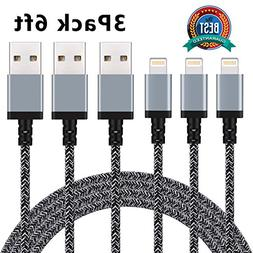 Cablex iPhone Charger 3Pack 6FT Nylon Braided Lightning Cabl