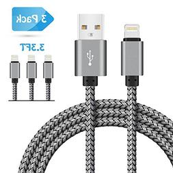 iPhone Charger SIXNINE69 3 Pack 3.3FT Durable Nylon Braided