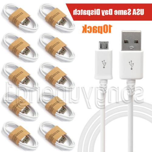 10-Pack Micro USB Charger Fast Charging Cable Cord For Samsu