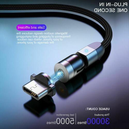 180+360° Rotate Magnetic Phone Cable Micro USB Type C Charger Samsung
