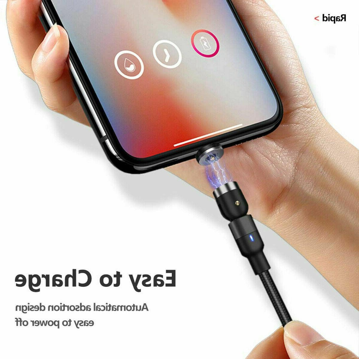180+360° Rotate Magnetic Phone Charger Cable iPhone