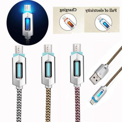 1M Android USB Phone Cable LED Nylon Braided Fast Charger Sy