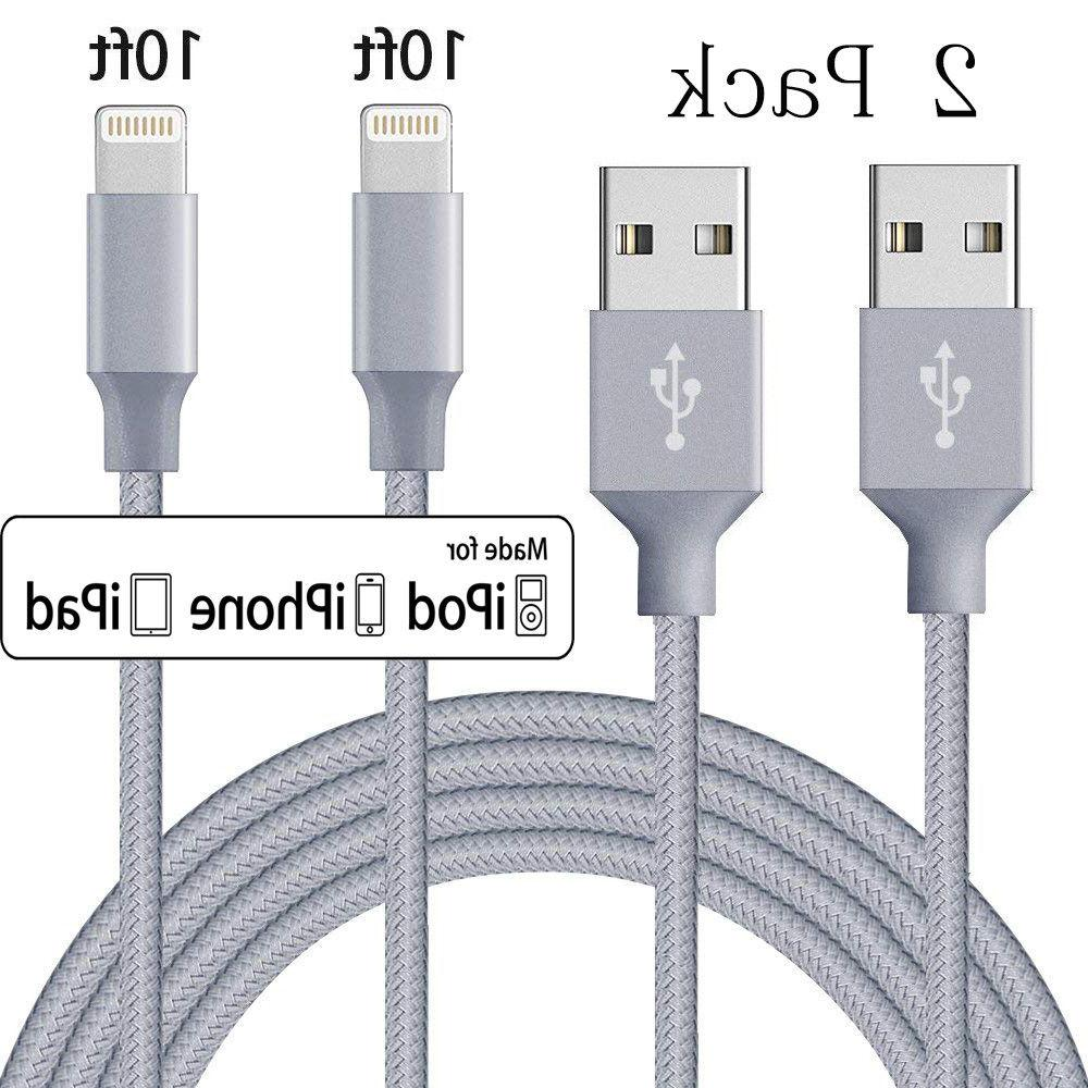 2 Pack 10 Ft Lightning Cable Heavy Duty iPhone 6 7 8 plus  C