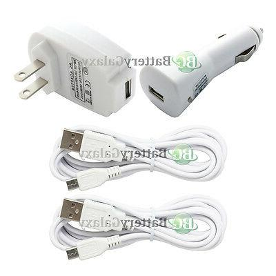 2 USB 6FT Micro Cord+Car+Wall Charger for Phone Samsung Gala