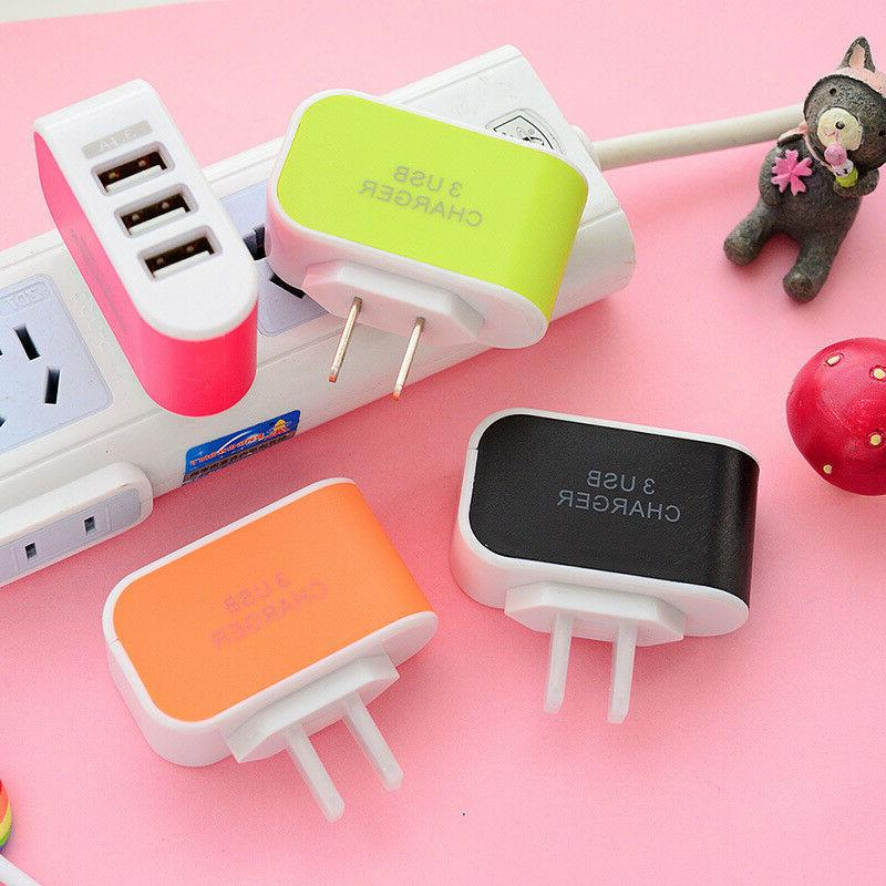 3 USB Wall Charger Station Travel Power for Cell Phone