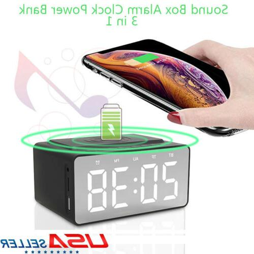 Electric LED Alarm Clock Phone Wireless Charger Desktop Musi
