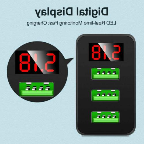 3 USB Wall Fast DIGITAL DISPLAY For Cell