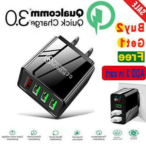 3port usb home wall fast charger qc