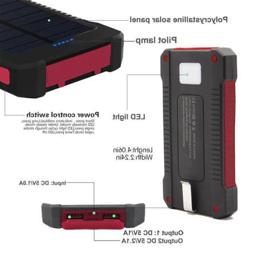 500000mAh USB Solar Battery Power Bank Phone USA