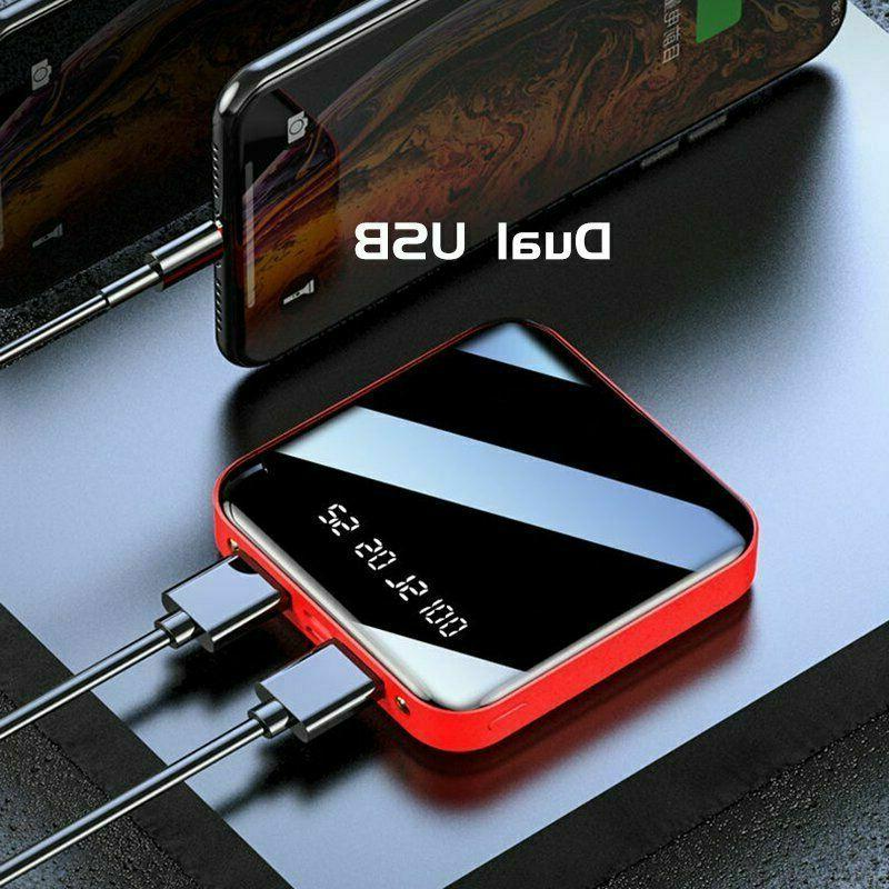10000mAh Mini LED 2 USB Battery Mobile Phone
