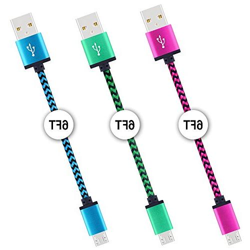 Android Premium 6FT Braided Hi-Speed to Charger Cable Galaxy HTC, PS4 and