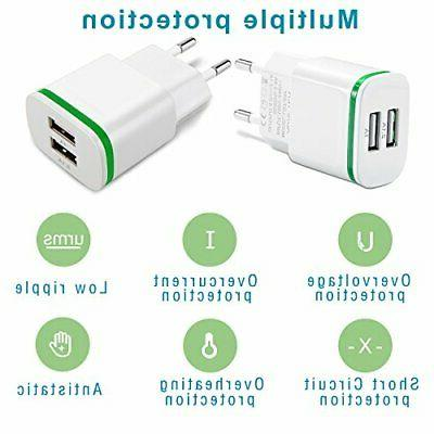 Europe Wall Charger, 2.1A 5V LED Dual European Travel
