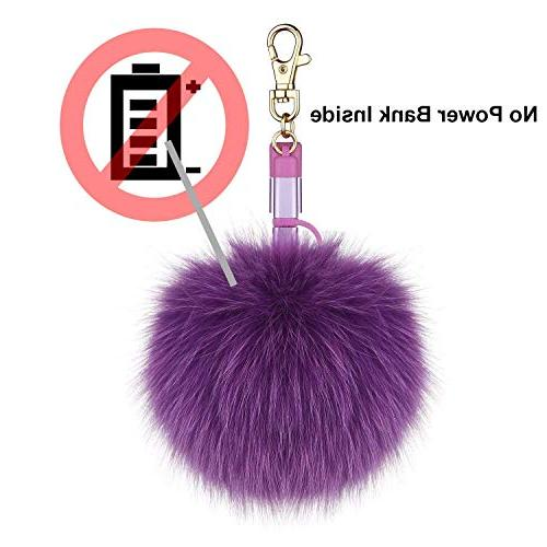 Fox Fur Ball Pom Keychain Charging Cable, 3in1 Cable iPhone iPad Android Type C Handbag Emergency Charging Cable