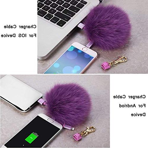 Pom Keychain 3in1 Multi Cable Compatible iPhone iPad C Handbag Charms as Emergency