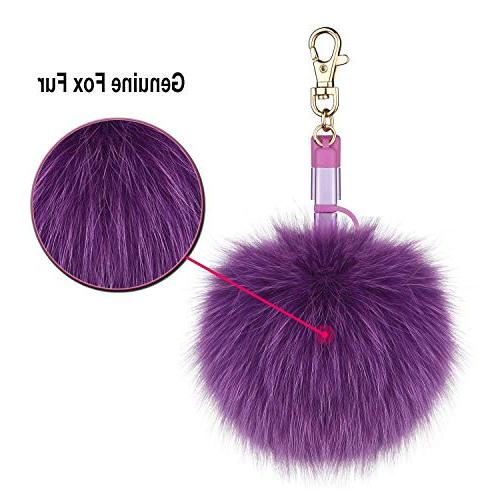 Fox Fur Ball Pom Charging 3in1 USB Multi Charger Cable iPad Samsung Android Type C Handbag Purse as Emergency Charging