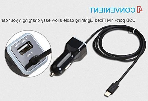 iPhone Car Charger, Car Charger X, 8 7, Plus Plus, 5S, iPad Pro, Air 2, Mini Extra USB Port
