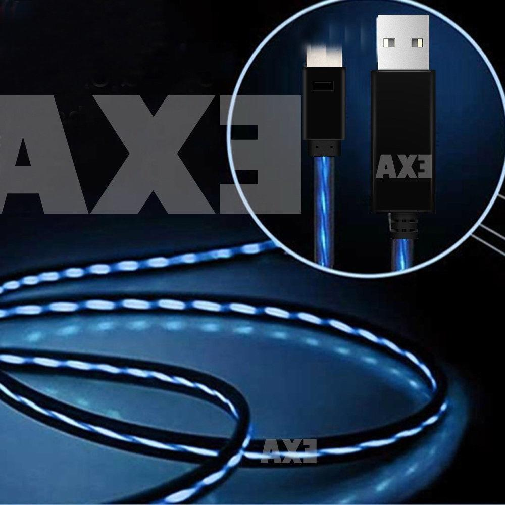 LED Light flowing Visible USB Charger Data Cable Cord For iP