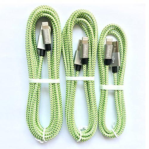 lightning cable chargers Long Nylon Braided Lightning Charger 7/7Plus/6S Plus,SE/5S/5C,iPad Nano