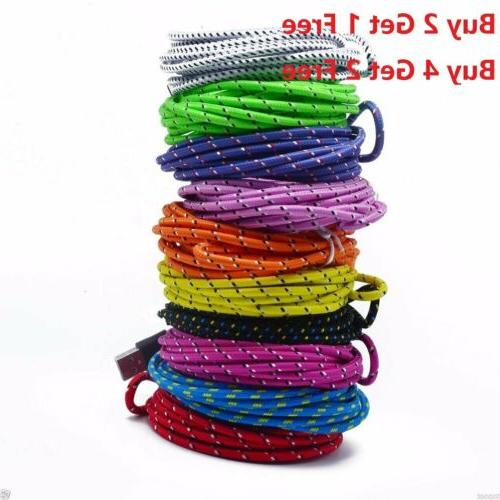 Lot Fast Charge Heavy Duty Braided USB Charger Charging Cabl