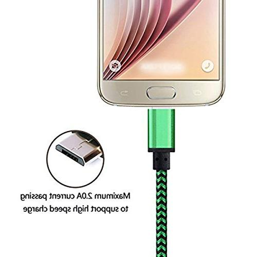 Micro Cable 3Pack Quick Charger Galaxy S7 S6 Edge Note 5 Kindle Hd Hdx Tablet HTC One Plus Moto G5 Green