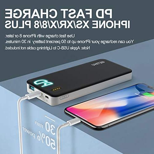 GETIHU QC3.0 Charge Portable USB C Power Quick Bank 18W Input & Output Battery Iphone 8 Samsung Nintendo