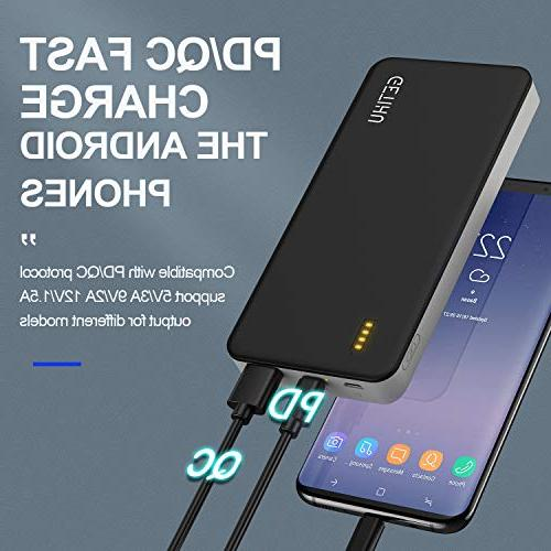 GETIHU PD QC3.0 Charge Portable Charger 10000mAh USB C Power Quick Power Bank 18W Battery Compatible with Iphone XS Max X Nintendo