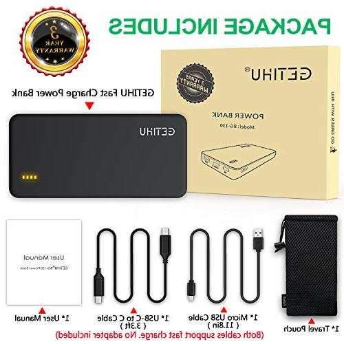 GETIHU Charge Portable Charger 10000mAh USB C Delivery Quick Charge Power 18W Input & Battery Pack Iphone Max X Nintendo Switch