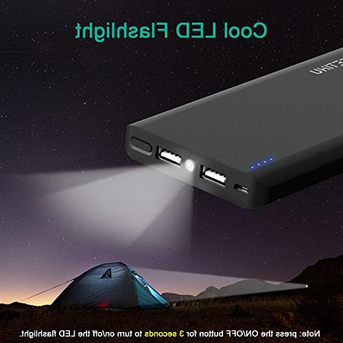 GETIHU Power Portable Charger 4.8A High-Speed Ports External Battery with Flashlight Compatible iPhone 8 7 6s Samsung