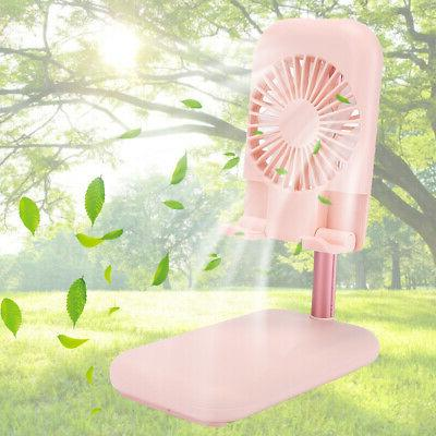 Portable Cooling Fan Phone Holder Stand USB Charger 2 Option Fan