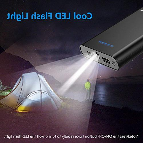 GETIHU Bank Portable 2 USB Pack with Flashlight with iPhone X 8 6s Samsung iPad