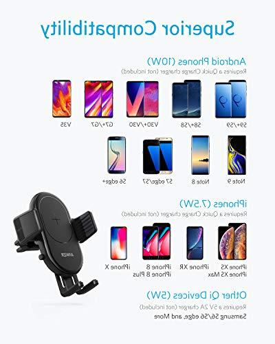 Anker Fast Wireless Car Charger with Air Vent iPhone Max/XR/XS/X/8/8 Plus, 10W Galaxy Quick Included