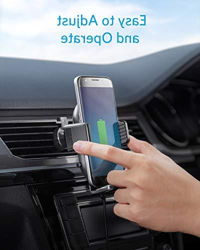 Anker Car Charger Vent Phone Holder, Qi Certified, Fast iPhone Max/XR/XS/X/8/8 Plus, 10W Galaxy Quick Included