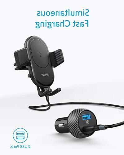 Anker Fast Car Vent Qi Certified, Fast iPhone 10W Included