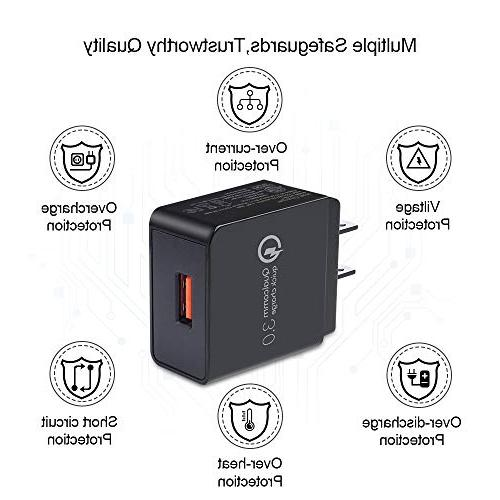 Sicodo USB Certified 18W Charger Compatible iPhoneX,8,7 Plus,6s Galaxy Edge,HTC,LG,Sony,Nokia,Motorola More