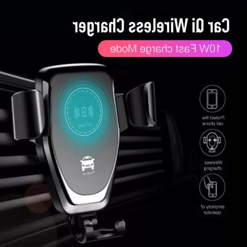 Real Fast Qi Wireless Charger Car Mount for Cell X 8 S9 Lot#