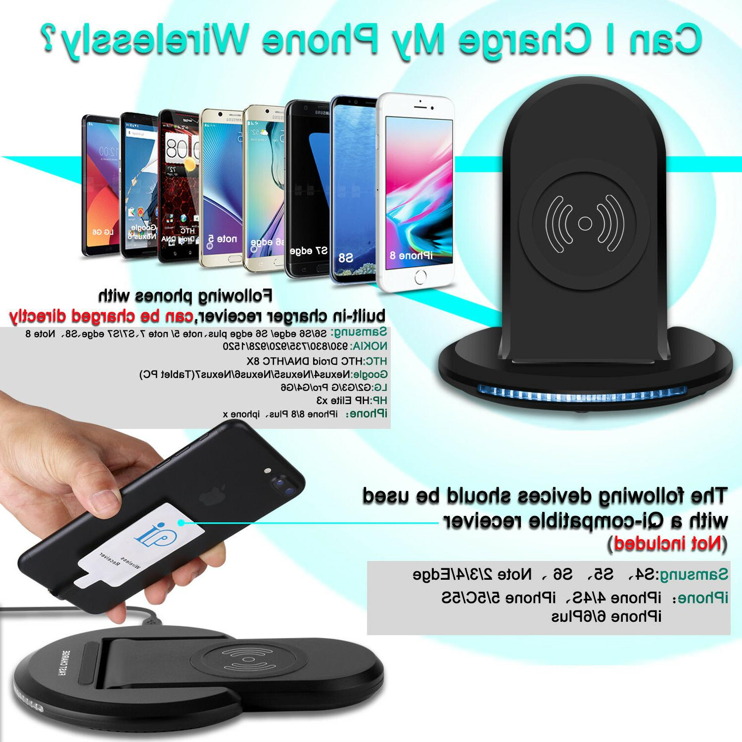 For Samsung Galaxy S9/ Plus Wireless Qi Fast Charger Charging Stand