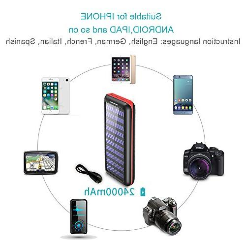 Solar Charger 24000mah Portable Charger Plochy Solar Power Bank