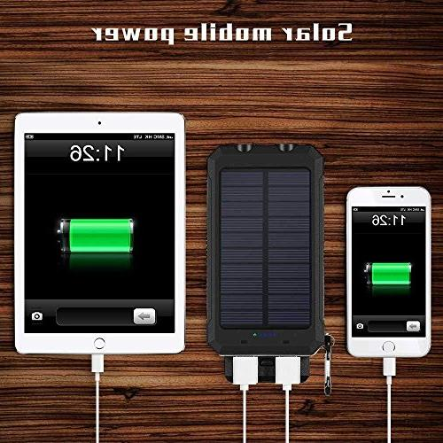 Ayyie Solar Power Bank USB Solar with 2LED Carabiner and for Smartphones and More