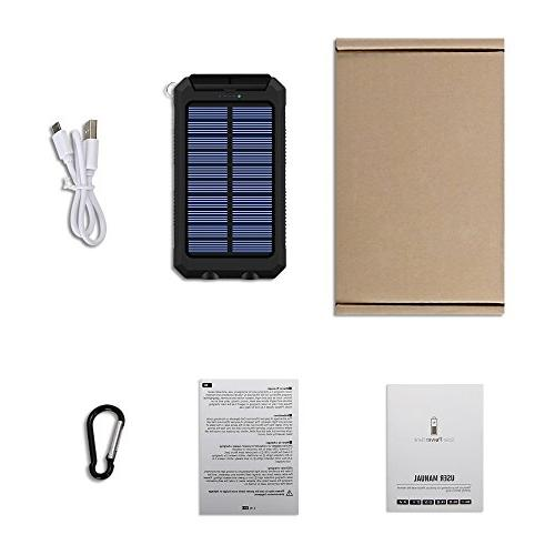 Ayyie Solar Power Bank Backup Battery USB with 2LED Light and Compass for Smartphones and More