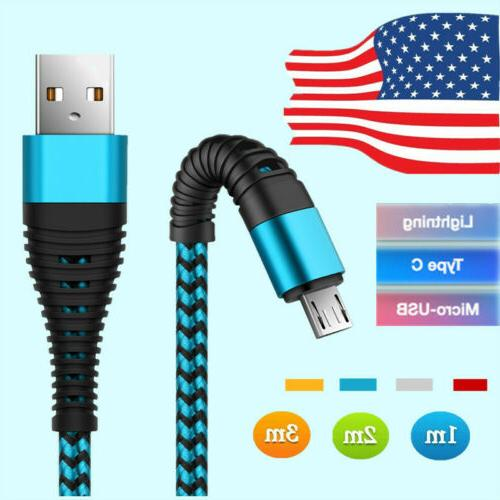 US 1~3M Fast USB Charger Charging Cable For Samsung Galaxy P