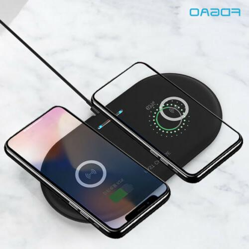 US Qi Wireless Dual Phone Charger Pad For Samsung S10 S8 iPhone 8Plus