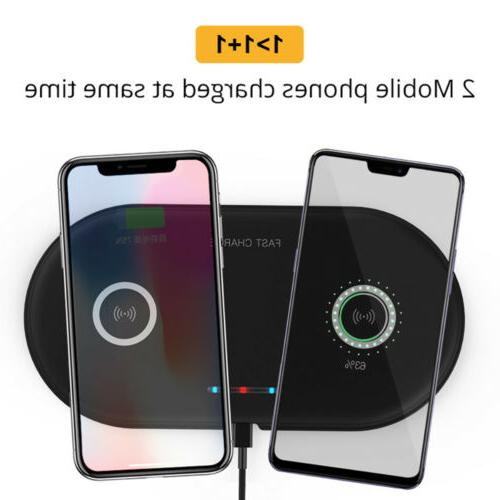 us qi wireless dual phone charger pad