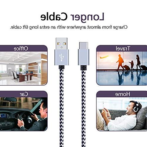 USB 5-Pack 6FT USB Type-C Nylon Braided Compatible with MacBook, S9, LG G5 V20, 6P 5X, HTC Oneplus ChromeBook More