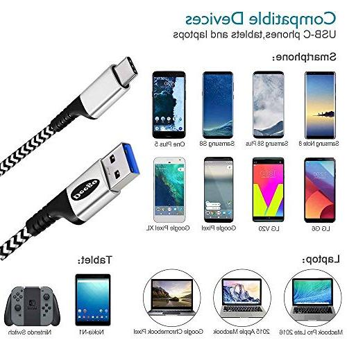 USB 3.0 C Cable,Extra Durable Charging Braided C-A Cord Samsung Note S8 Pixel XL,Nintendo Z2,LG