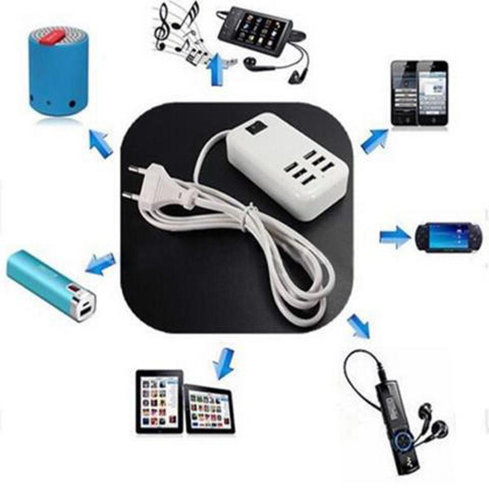 6 Port USB Multi-Function Fast Wall Station AC Adapter US
