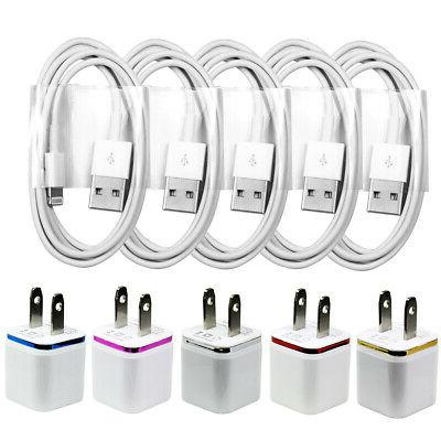 5x USB Home Charging Kits - 8-Pin Cords + Wall Chargers for