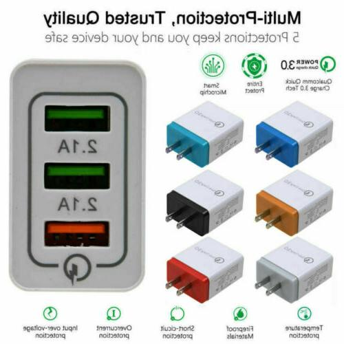 USB Hub Wall Charger Power Adapter iPhone Samsung