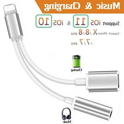 Lightning Adapter,3.5mm Jack Aux Headphone Audio +Charger+Vo