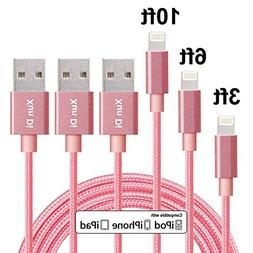 Lightning Cable, Xun Di 3Pack 3'/6'/10' FT Nylon Braided 8 P