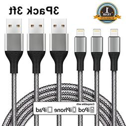 Sundix Lightning Cable,3 Pack 3FT iPhone Charger Nylon Braid